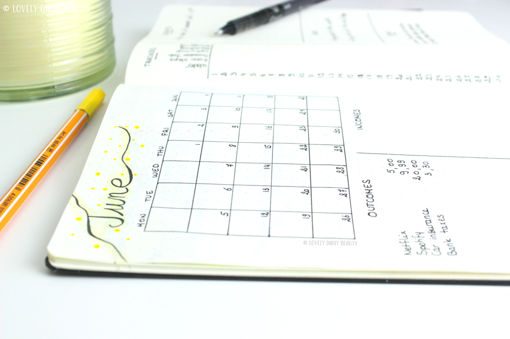 June bullet journal monthly layout 3