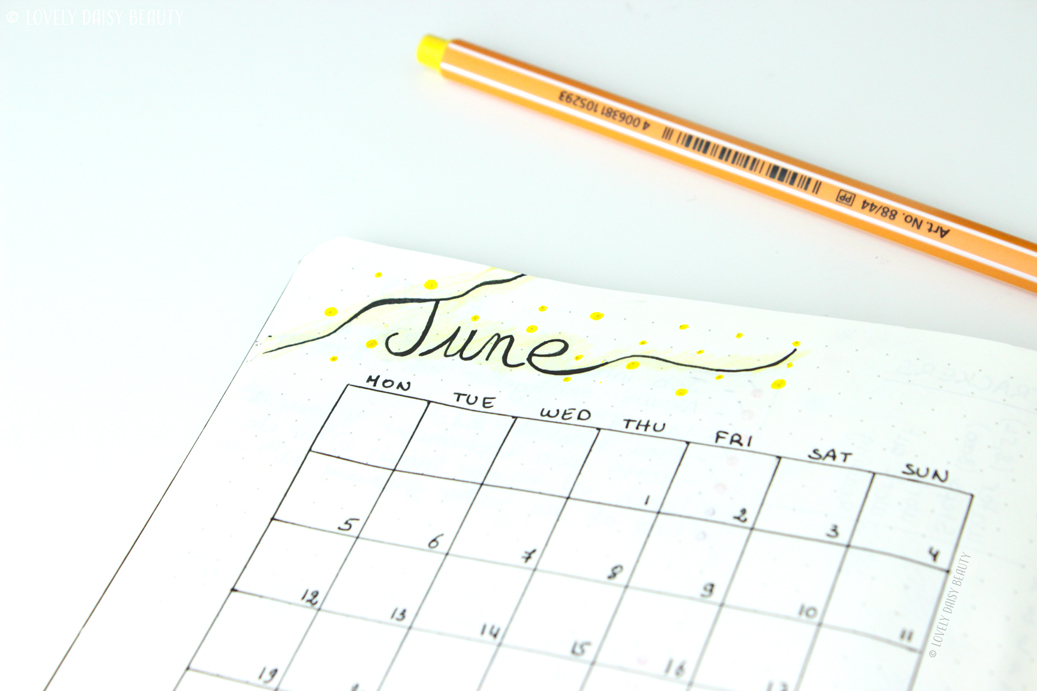 June bullet journal monthly layout 4