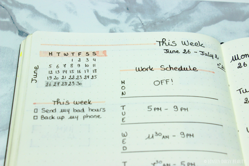 weekly layout bullet journal work schedule to do list 2