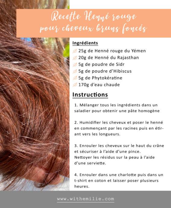 Fiche recette : Ma coloration rouge au henné - WithEmilieBlog
