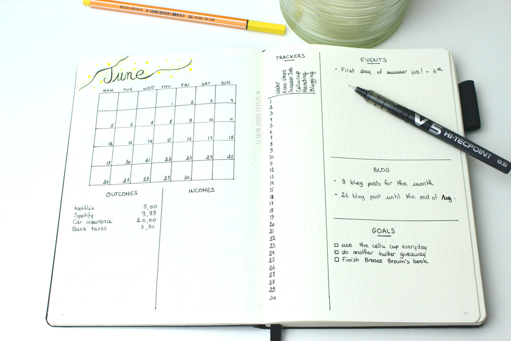 June bullet journal monthly layout 1