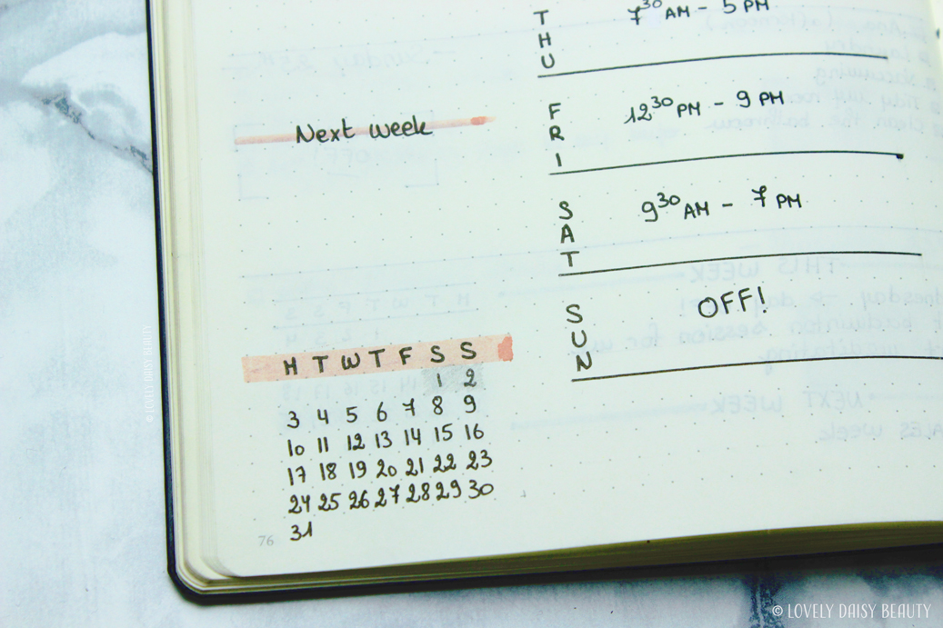 weekly layout bullet journal work schedule to do list 3